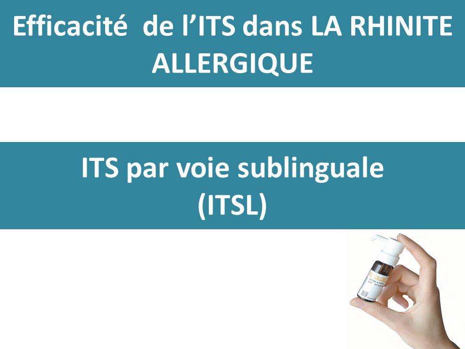 Efficacité de lITS dans LA RHINITE ALLERGIQUE ITS par voie sublinguale (ITSL)