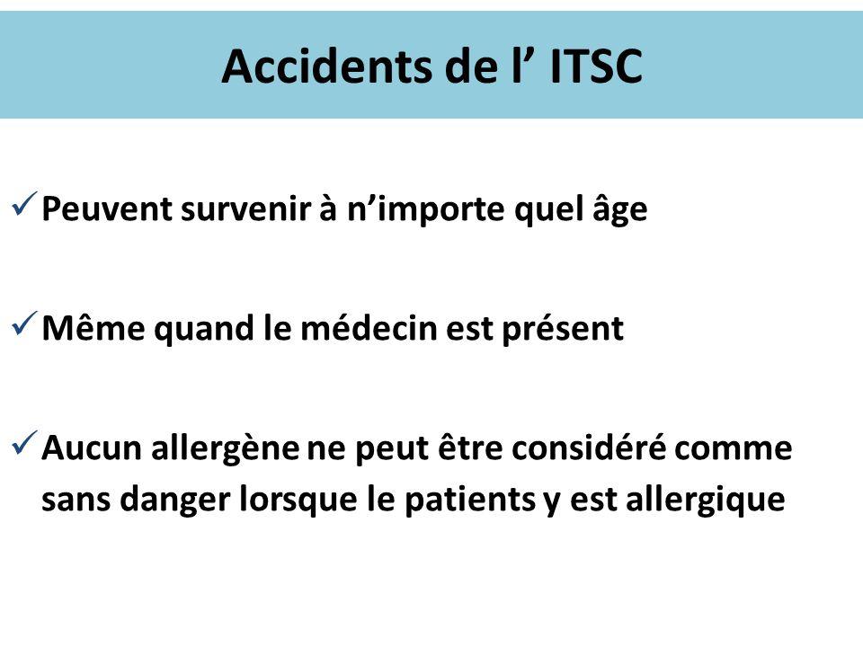Accidents de l ITSC Peuvent survenir à nimporte quel âge Même quand le médecin est présent Aucun allergène ne peut être considéré comme sans danger lo