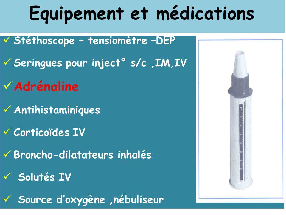 Equipement et médications Stéthoscope – tensiomètre –DEP Seringues pour inject° s/c,IM,IV Adrénaline Antihistaminiques Corticoïdes IV Broncho-dilatate