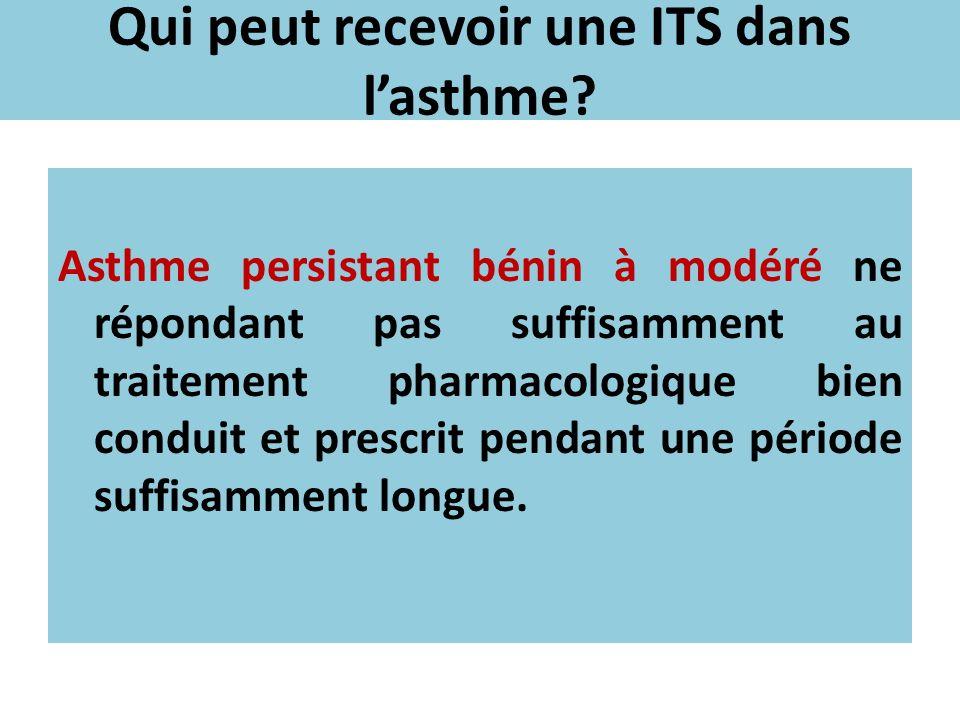 Qui peut recevoir une ITS dans lasthme? Asthme persistant bénin à modéré ne répondant pas suffisamment au traitement pharmacologique bien conduit et p