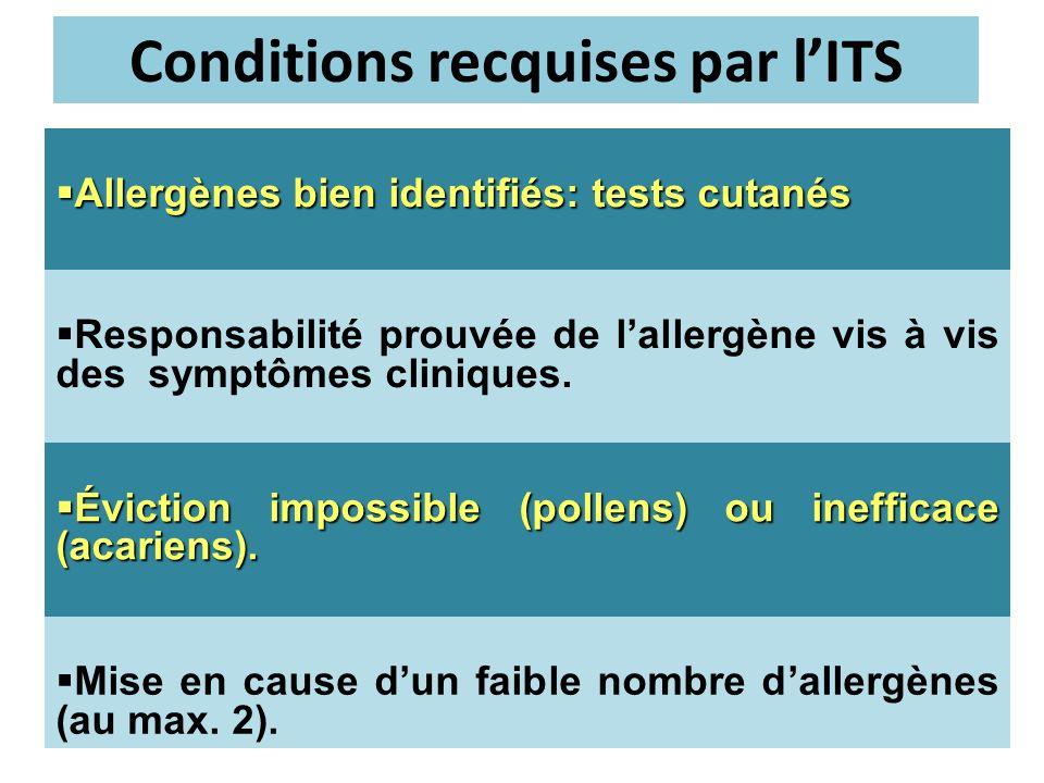 Allergènes bien identifiés: tests cutanés Allergènes bien identifiés: tests cutanés Responsabilité prouvée de lallergène vis à vis des symptômes clini