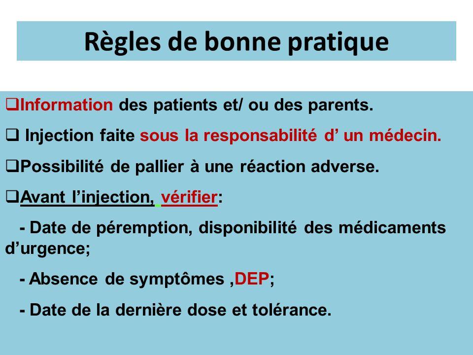 Règles de bonne pratique Information des patients et/ ou des parents. Injection faite sous la responsabilité d un médecin. Possibilité de pallier à un