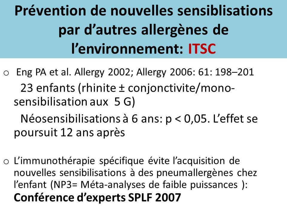 Prévention de nouvelles sensiblisations par dautres allergènes de lenvironnement: ITSC o Eng PA et al. Allergy 2002; Allergy 2006: 61: 198–201 23 enfa