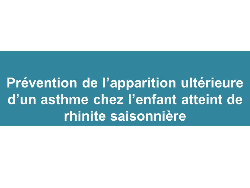 Prévention de lapparition ultérieure dun asthme chez lenfant atteint de rhinite saisonnière