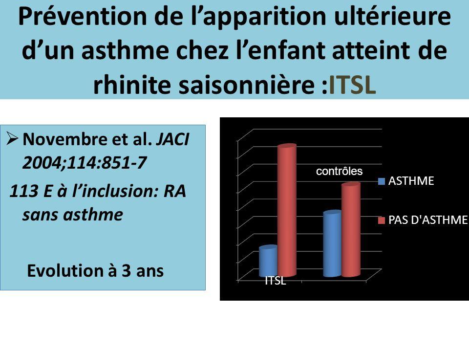 Novembre et al. JACI 2004;114:851-7 113 E à linclusion: RA sans asthme Evolution à 3 ans contrôles Prévention de lapparition ultérieure dun asthme che