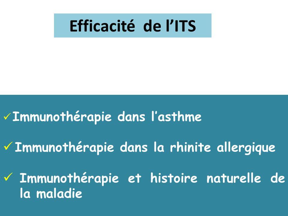 Efficacité de lITS Immunothérapie dans lasthme Immunothérapie dans la rhinite allergique Immunothérapie et histoire naturelle de la maladie
