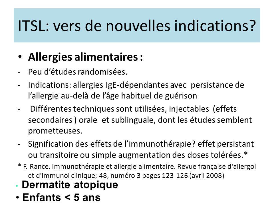 ITSL: vers de nouvelles indications? Allergies alimentaires : -Peu détudes randomisées. -Indications: allergies IgE-dépendantes avec persistance de la