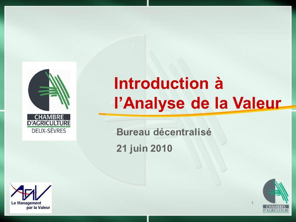 1 Bureau décentralisé 21 juin 2010 Introduction à lAnalyse de la Valeur