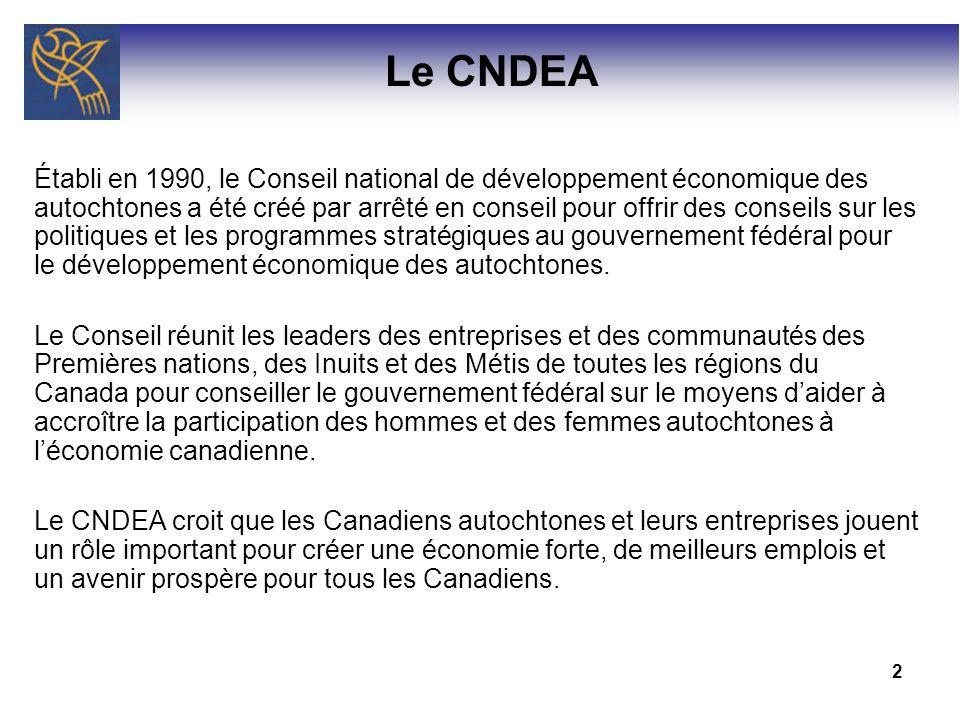 2 Établi en 1990, le Conseil national de développement économique des autochtones a été créé par arrêté en conseil pour offrir des conseils sur les po