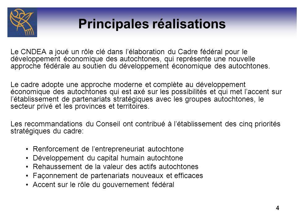 4 Principales réalisations Le CNDEA a joué un rôle clé dans lélaboration du Cadre fédéral pour le développement économique des autochtones, qui représ
