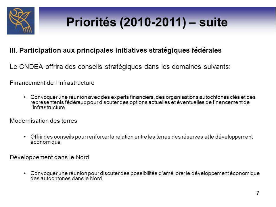 7 Priorités (2010-2011) – suite III. Participation aux principales initiatives stratégiques fédérales Le CNDEA offrira des conseils stratégiques dans