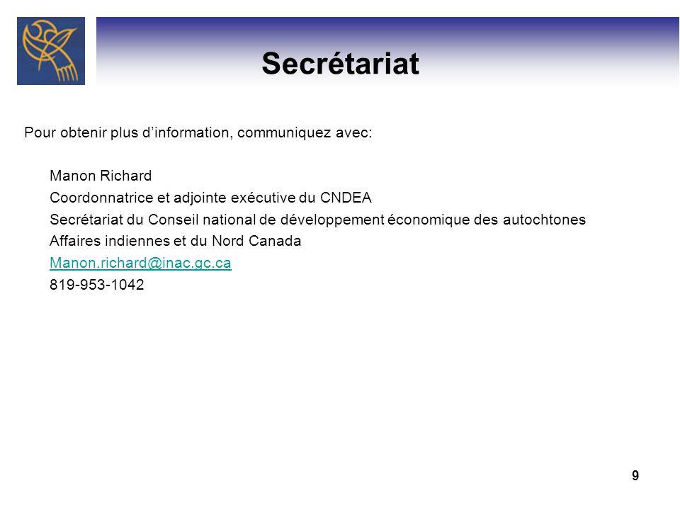 9 Secrétariat Pour obtenir plus dinformation, communiquez avec: Manon Richard Coordonnatrice et adjointe exécutive du CNDEA Secrétariat du Conseil nat