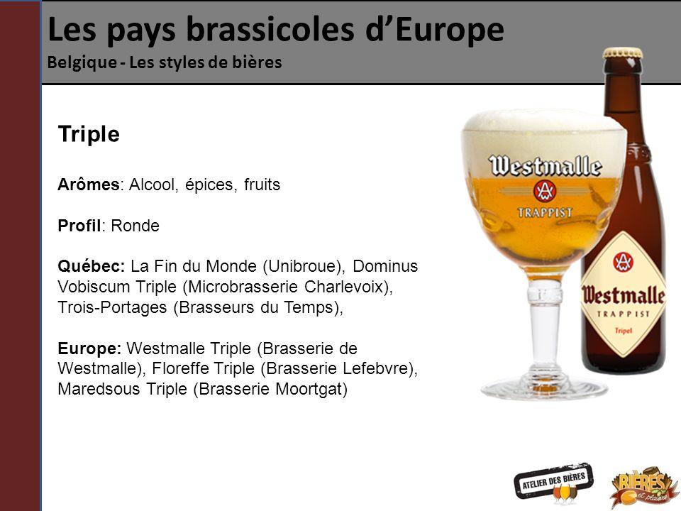 Les pays brassicoles dEurope Belgique - Les styles de bières Quadruple ou Abt Plus fortes que les Doubles, les Quadruples sont le résultat d un brassage avec une densité et une teneur en sucre avant fermentation bien supérieure aux autres bières.