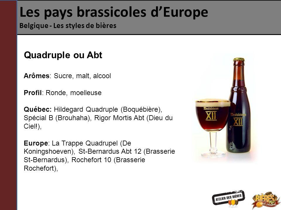 Les pays brassicoles dEurope Belgique - Les styles de bières Double ou Triple fermentation .