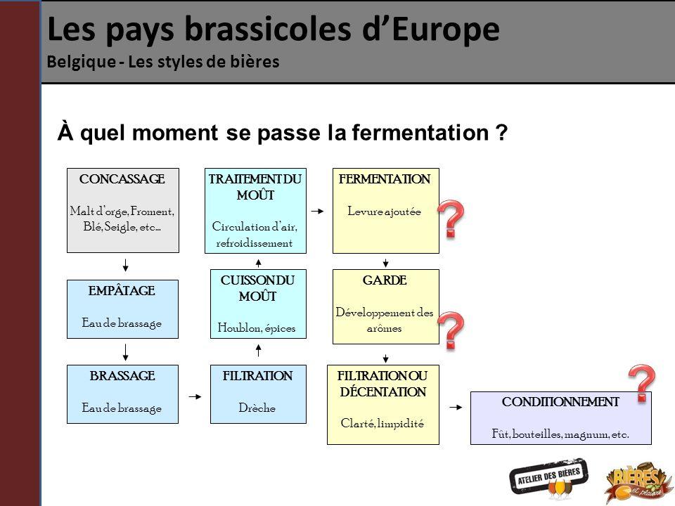 Les pays brassicoles dEurope Belgique - Les styles de bières La fermentation spontanée La fermentation spontanée ne nécessite pas dajout de levure dans le moût par le brasseur.