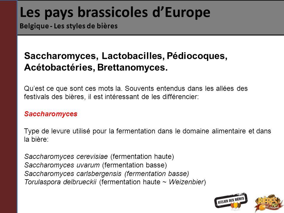 Les pays brassicoles dEurope Belgique - Les styles de bières Saccharomyces, Lactobacilles, Pédiocoques, Acétobactéries, Brettanomyces.
