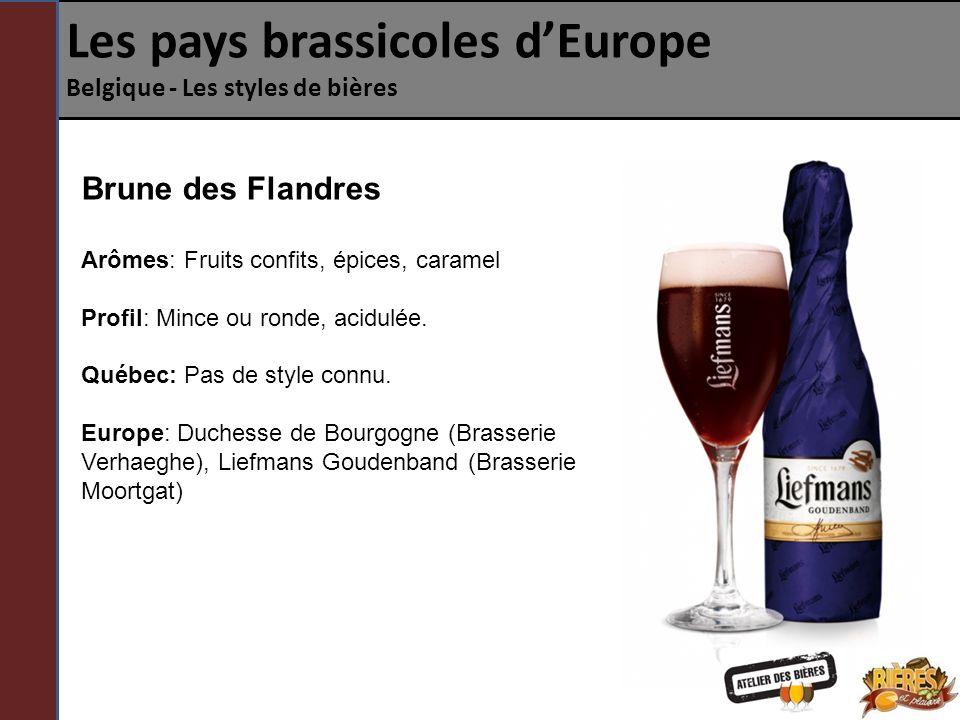 Les pays brassicoles dEurope Belgique - Les styles de bières Brune ou Rouge .
