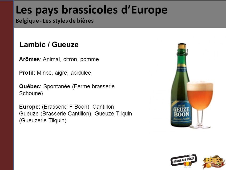 Les pays brassicoles dEurope Belgique - Les styles de bières Lambic / Fruits On parle ici dune bière de type Lambic à laquelle on a rajouté des fruits.