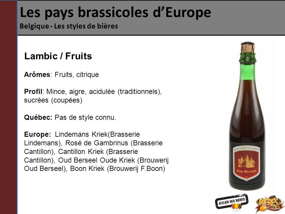 Les pays brassicoles dEurope Belgique - Les styles de bières Lambic / Fruits Arômes: Fruits, citrique Profil: Mince, aigre, acidulée (traditionnels), sucrées (coupées) Québec: Pas de style connu.