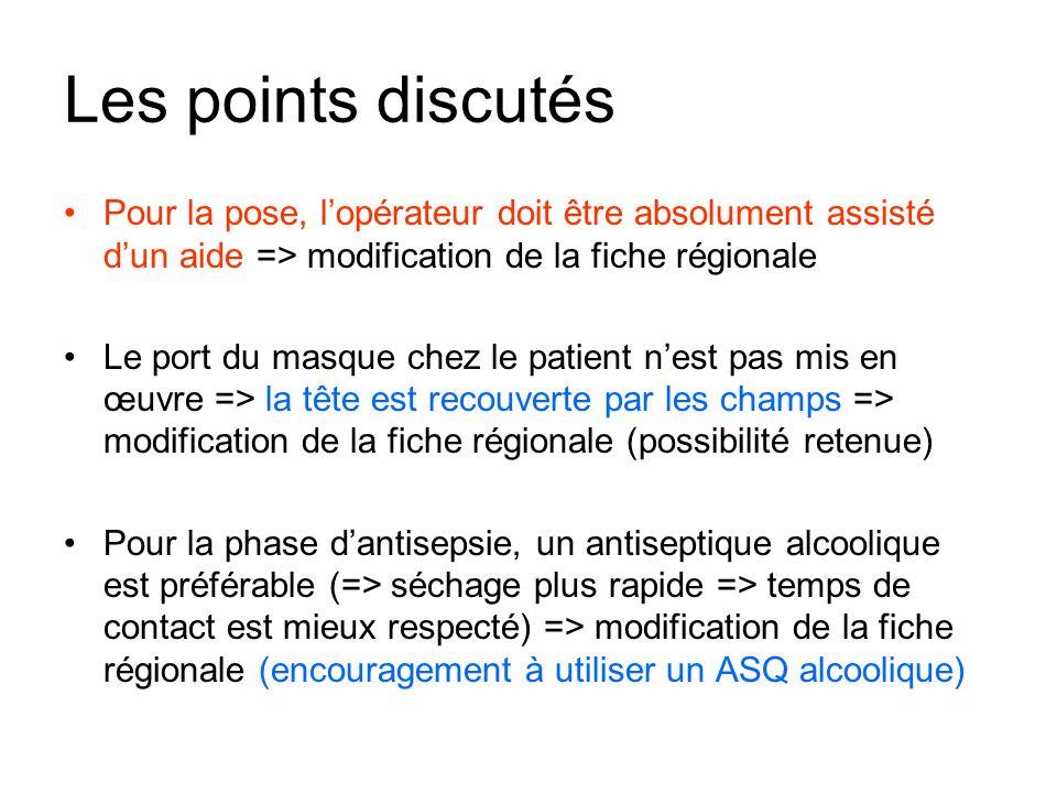 Les points discutés Pour la pose, lopérateur doit être absolument assisté dun aide => modification de la fiche régionale Le port du masque chez le pat