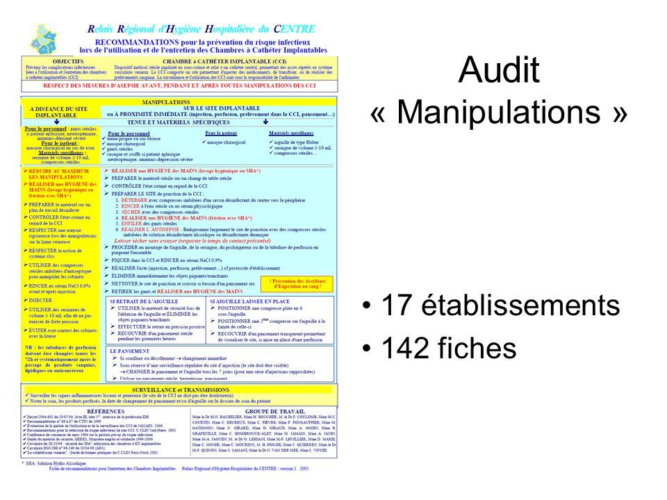 Audit « Manipulations » 17 établissements 142 fiches
