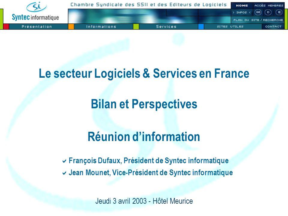 Le secteur Logiciels & Services en France Bilan et Perspectives Réunion dinformation Jeudi 3 avril 2003 - Hôtel Meurice François Dufaux, Président de