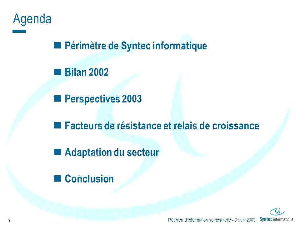 Réunion dinformation semestrielle - 3 avril 2003 2 Agenda Périmètre de Syntec informatique Bilan 2002 Perspectives 2003 Facteurs de résistance et rela