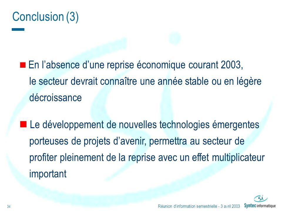 Réunion dinformation semestrielle - 3 avril 2003 34 En labsence dune reprise économique courant 2003, le secteur devrait connaître une année stable ou