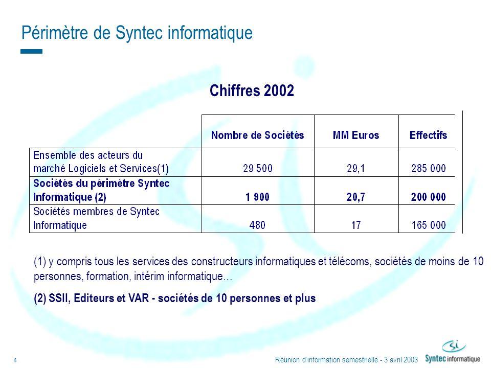 Réunion dinformation semestrielle - 3 avril 2003 4 Périmètre de Syntec informatique (1) y compris tous les services des constructeurs informatiques et