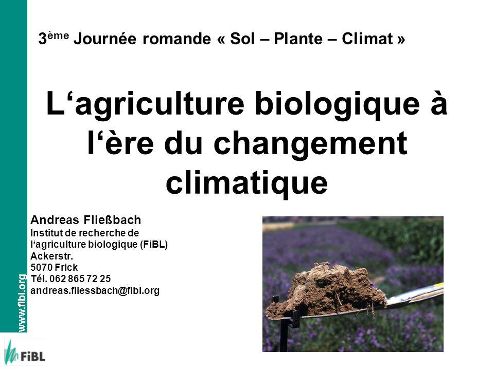 www.fibl.org Lagriculture biologique à lère du changement climatique Andreas Fließbach Institut de recherche de lagriculture biologique (FiBL) Ackerst
