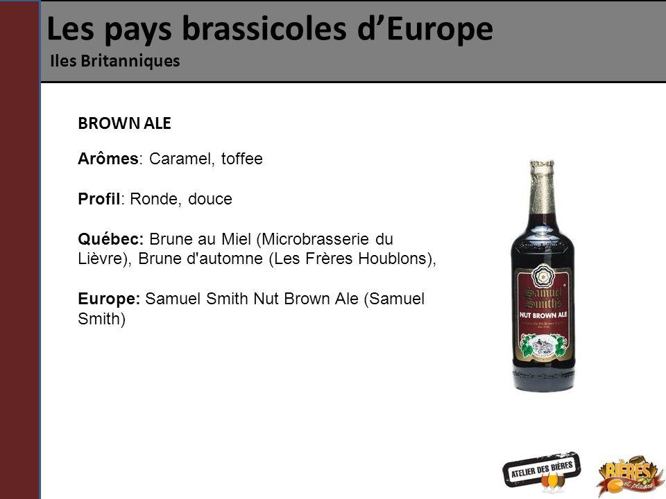 Les pays brassicoles dEurope Iles Britanniques BROWN ALE Arômes: Caramel, toffee Profil: Ronde, douce Québec: Brune au Miel (Microbrasserie du Lièvre)