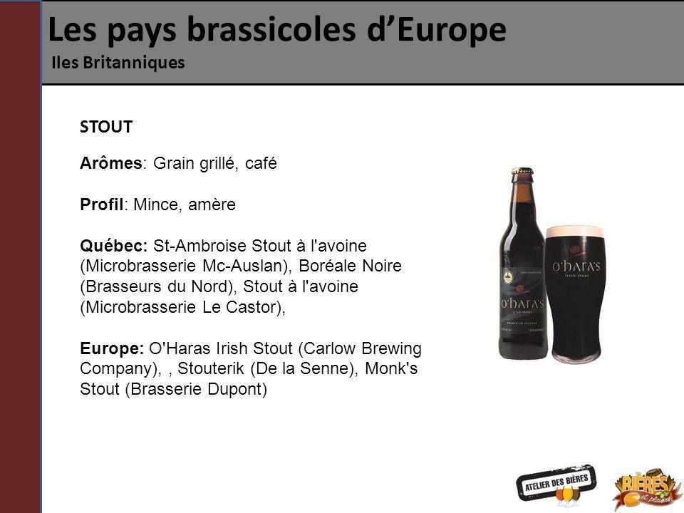 Les pays brassicoles dEurope Iles Britanniques STOUT Arômes: Grain grillé, café Profil: Mince, amère Québec: St-Ambroise Stout à l'avoine (Microbrasse