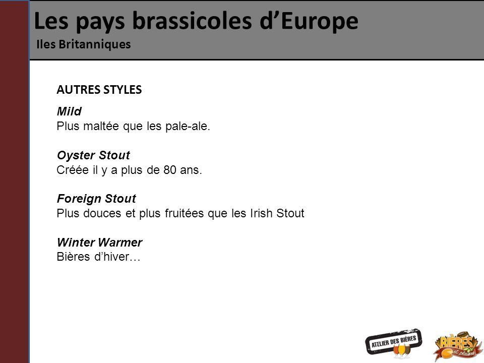 Les pays brassicoles dEurope Iles Britanniques Mild Plus maltée que les pale-ale. Oyster Stout Créée il y a plus de 80 ans. Foreign Stout Plus douces