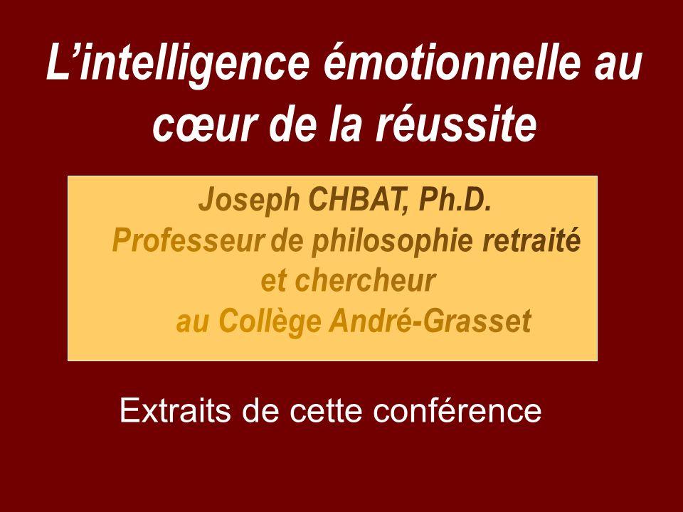 Lintelligence émotionnelle au cœur de la réussite Extraits de cette conférence