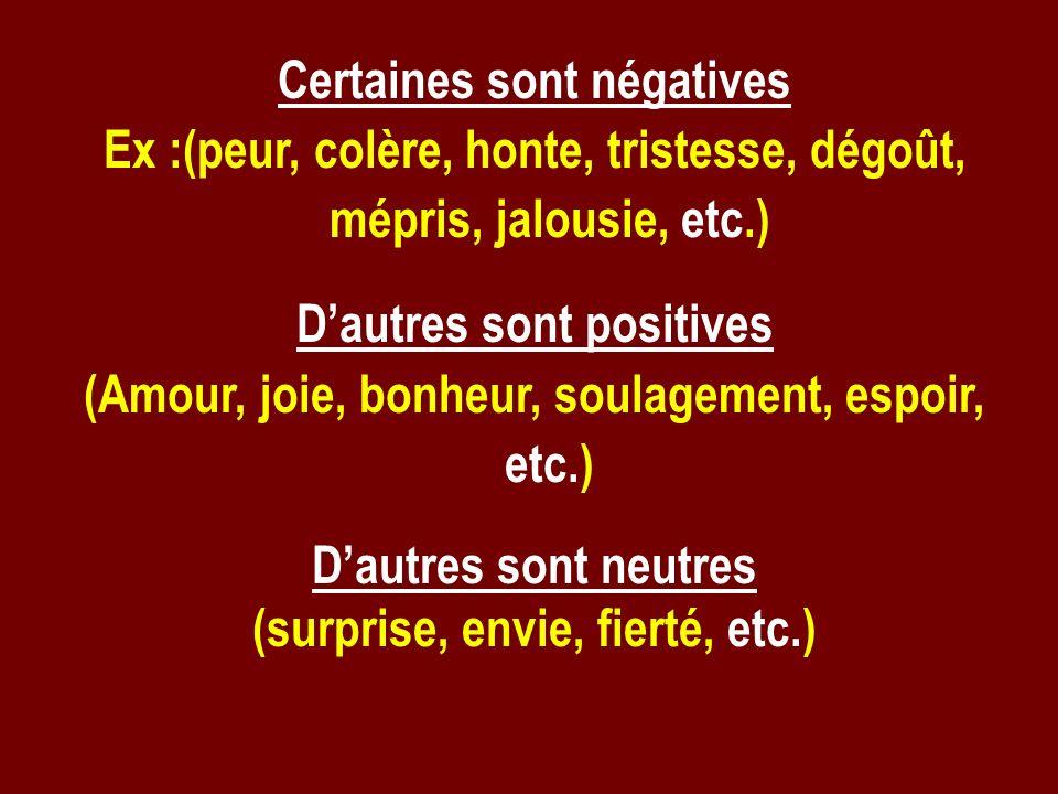 Certaines sont négatives Ex :(peur, colère, honte, tristesse, dégoût, mépris, jalousie, etc.) Dautres sont positives (Amour, joie, bonheur, soulagemen