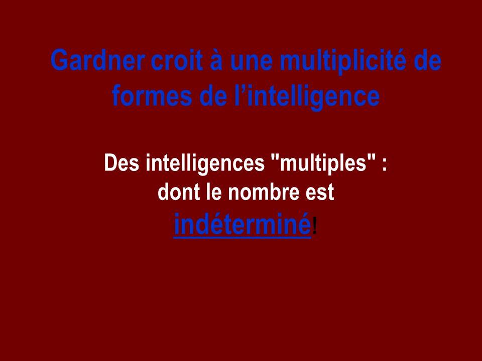Gardner croit à une multiplicité de formes de lintelligence Des intelligences