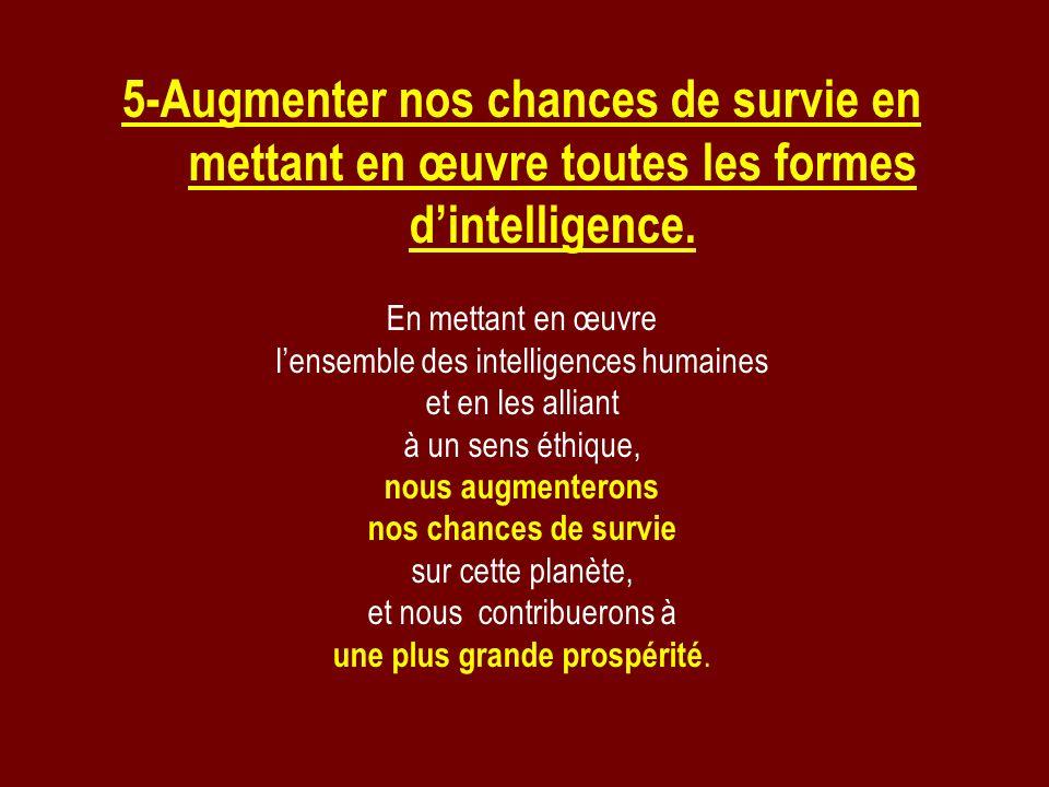 5-Augmenter nos chances de survie en mettant en œuvre toutes les formes dintelligence. En mettant en œuvre lensemble des intelligences humaines et en