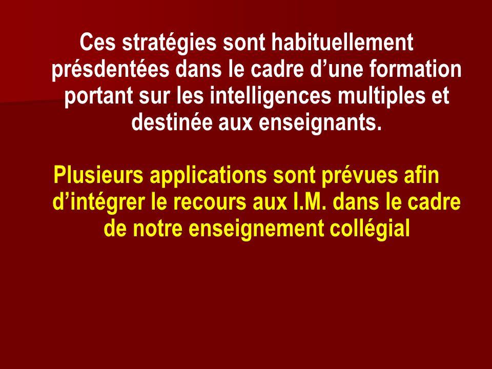 Ces stratégies sont habituellement présdentées dans le cadre dune formation portant sur les intelligences multiples et destinée aux enseignants. Plusi