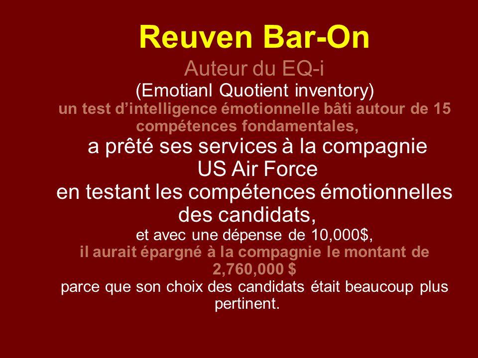 Reuven Bar-On Auteur du EQ-i (Emotianl Quotient inventory) un test dintelligence émotionnelle bâti autour de 15 compétences fondamentales, a prêté ses