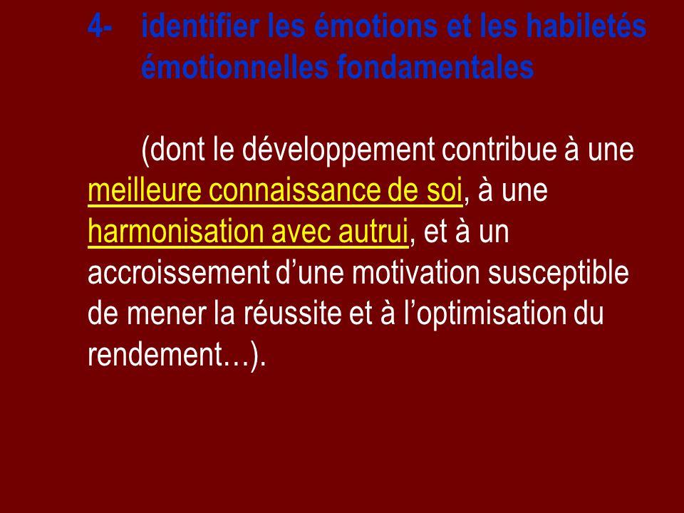 4- identifier les émotions et les habiletés émotionnelles fondamentales (dont le développement contribue à une meilleure connaissance de soi, à une ha