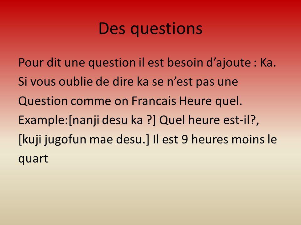 Des questions Pour dit une question il est besoin dajoute : Ka.