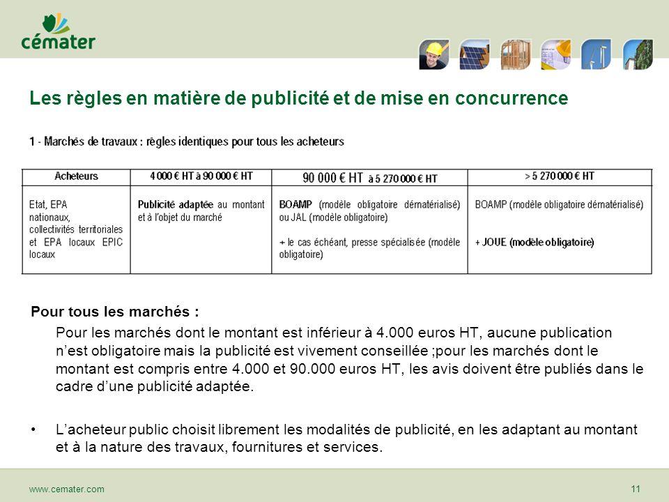 Les règles en matière de publicité et de mise en concurrence www.cemater.com11 Pour tous les marchés : Pour les marchés dont le montant est inférieur