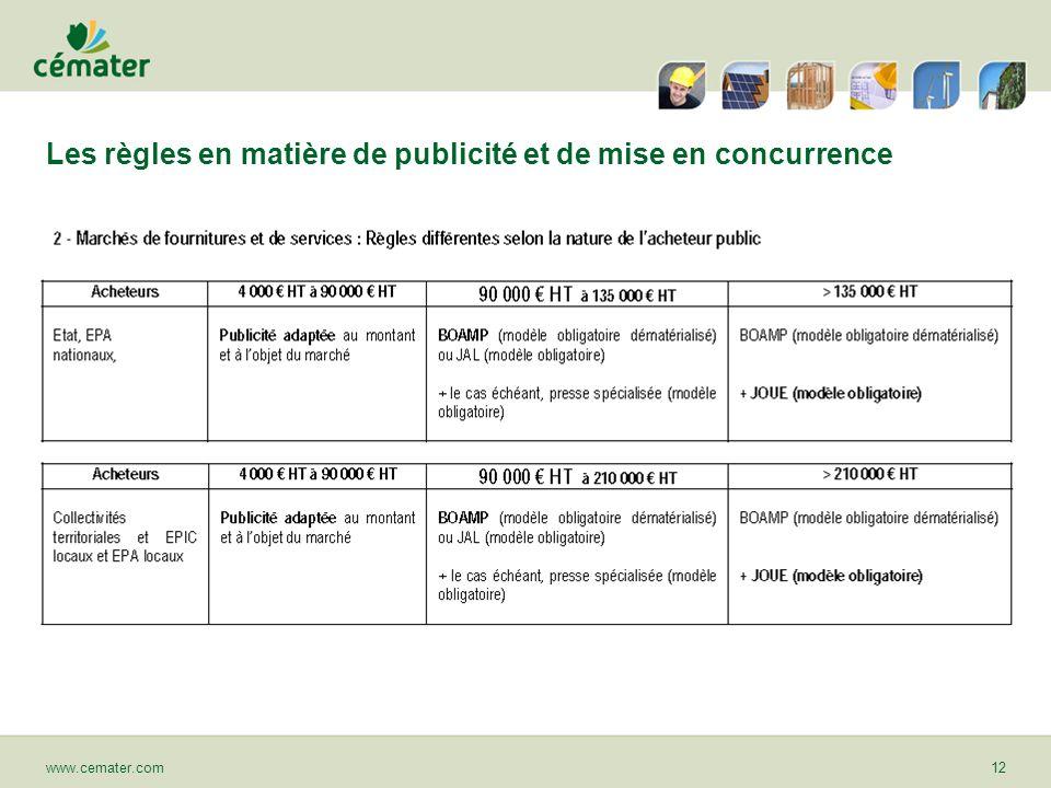 Les règles en matière de publicité et de mise en concurrence www.cemater.com12