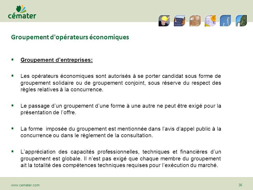 Groupement d'opérateurs économiques Groupement dentreprises: Les opérateurs économiques sont autorisés à se porter candidat sous forme de groupement s