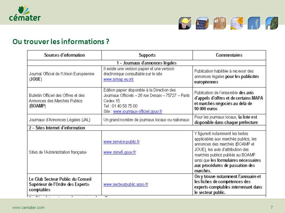 Ou trouver les informations ? www.cemater.com7