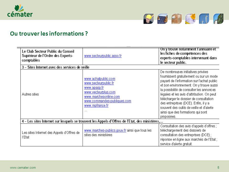 Ou trouver les informations ? www.cemater.com8