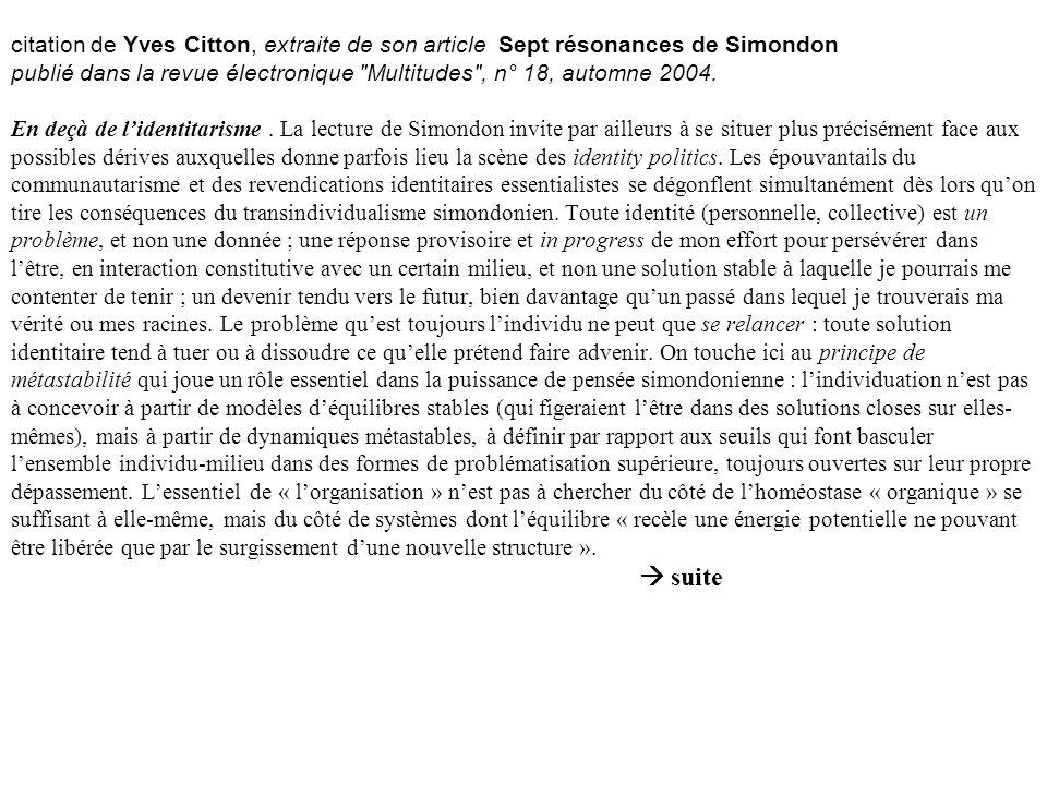 citation de Yves Citton, extraite de son article Sept résonances de Simondon publié dans la revue électronique