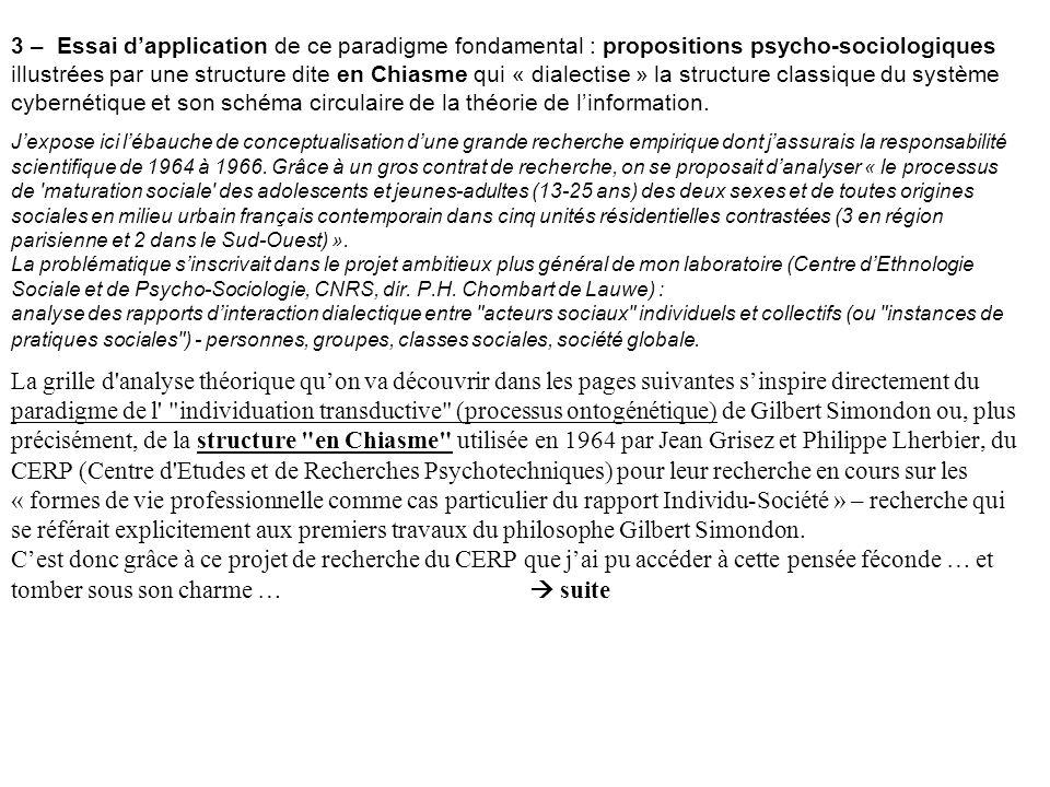 3 – Essai dapplication de ce paradigme fondamental : propositions psycho-sociologiques illustrées par une structure dite en Chiasme qui « dialectise »
