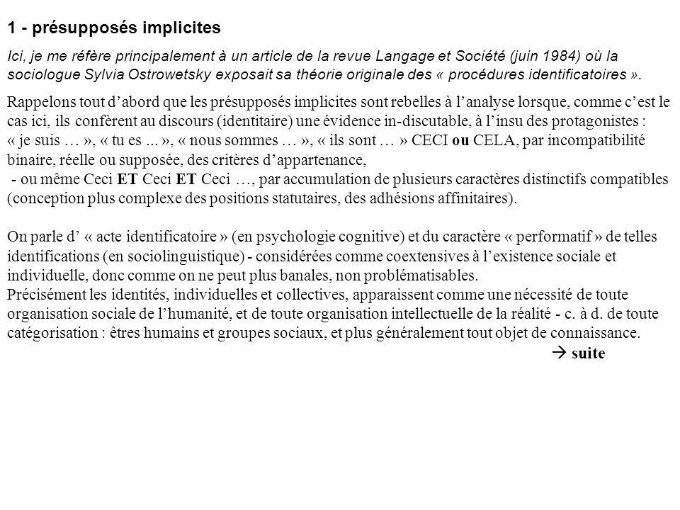 1 - présupposés implicites Ici, je me réfère principalement à un article de la revue Langage et Société (juin 1984) où la sociologue Sylvia Ostrowetsk
