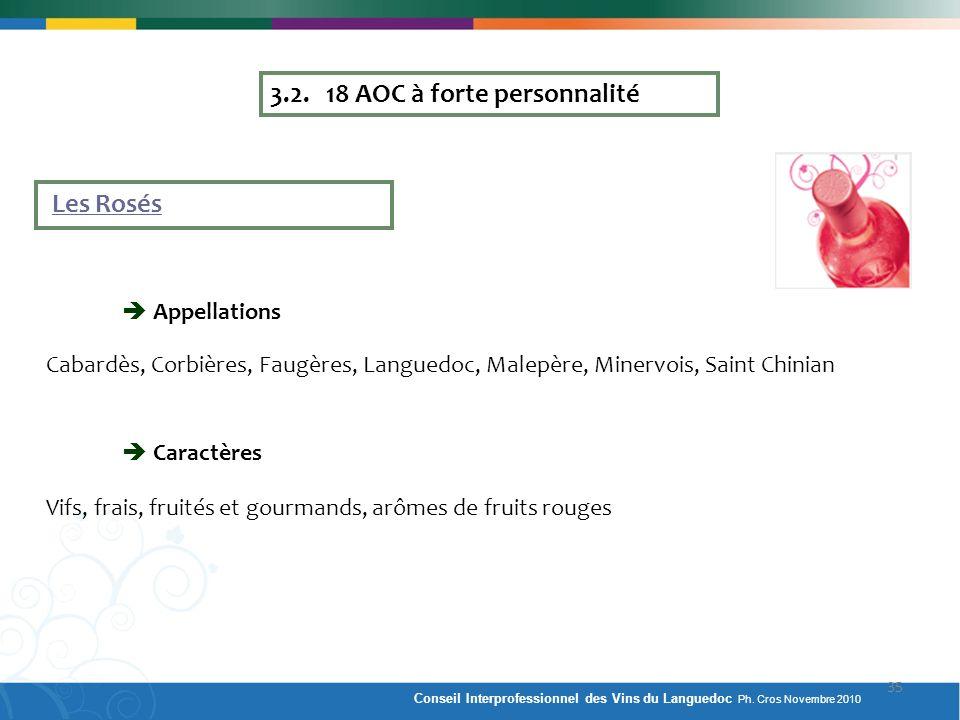 3.2. 18 AOC à forte personnalité Les Rosés Appellations Cabardès, Corbières, Faugères, Languedoc, Malepère, Minervois, Saint Chinian Caractères Vifs,